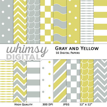 Gray and Yellow Digital Paper with Stripes, Waves, Chevron, Polka Dots, Scallops, and Checkers in shades of Yellow, Gray, and White