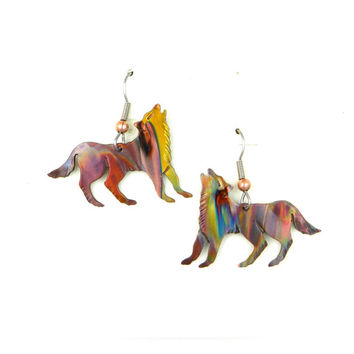Handmade flame painted wolf earrings, torched copper wolf earrings, wolf jewelry, Etsy Canada, pacific west coast, free shipping Canada