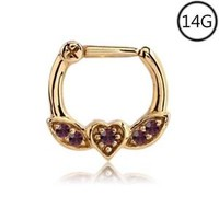 Gold Plated Septum Clicker Nose Ring Hoop Ear Cartilage Helix Purple 14G