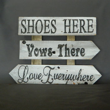 "Hand painted Beach Wedding , Reclaimed Wood Pallet Art, ""Shoes Here, Vows there, Love Everywhere""  Rustic and Shabby Chic"