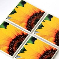 Sunflower Decor, Decorative Tile Coaster Set, Yellow, Floral, Summer, Hostess Gift, Ceramic, 4X4, Set of 4