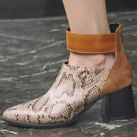Hot style is a hot seller of women's nude boots with thick, high heels and pointed toes