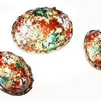 Art Glass Brooch Earring Demi Set Orange Green White Domed Egg Shape Gold Metal Vintage