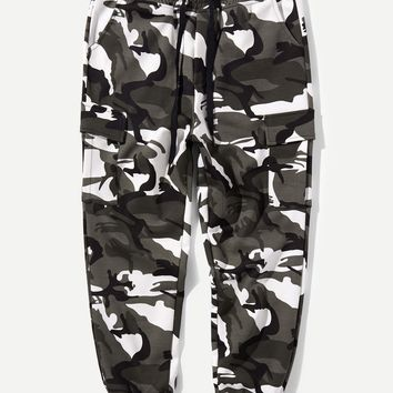 Men Drawstring Camo Sweatpants