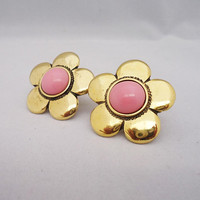 Vintage MOSCHINO Flower Clip on Earrings, Moschino Chunky Clip on Earrings, Moschino Clip on Earrings Pink