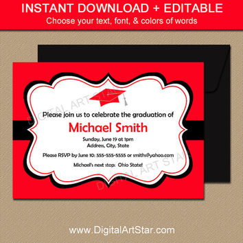 Printable Graduation Invitation Red Black Graduation Party Class of 2016 EDITABLE Graduation Invite - Graduation Celebration Digital PDF