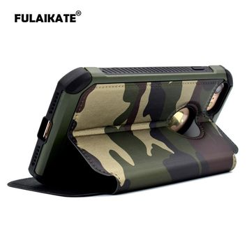 FULAIKATE Army Green Camouflage Holster for iPhone5 5s SE Anti-Knock Back Cover for Apple iPhone SE Flip Case Phone Cases