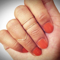 3 knuckle rings: 2 mid ring & 1 chevron ring. Gold Knuckle Ring, Silver Knuckle Ring,  small gift, dainty ring, thin ring