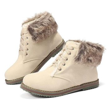 Multi-Way Wearing Fur Lining Lace Up Ankle Boots