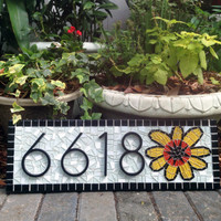 Address Sign With Sunflower // Mosaic House Number Plaque // Black White Yellow