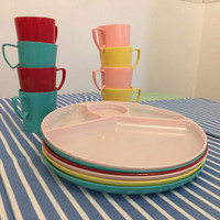 Vintage Gothanware Picnic Set- Pastel- Pink- Yellow- Red- Turquoise- Glamping Set- Camping- Kitchen- Dish Set- Dishes- Plates- Cups-1960s