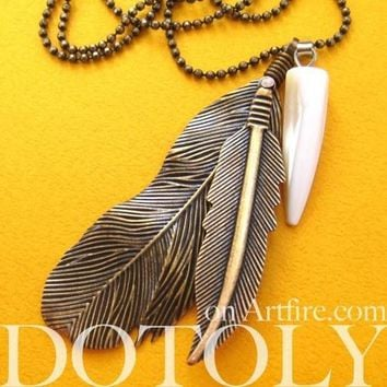 Bohemian Realistic Feather Pendant Necklace in Bronze   DOTOLY
