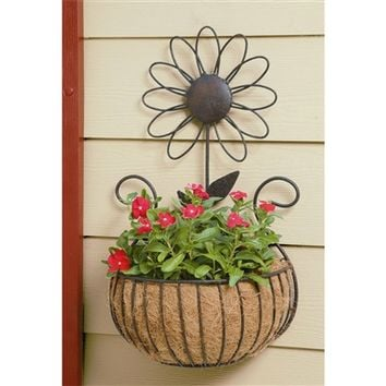 SheilaShrubs.com: Daisy Wall Basket with Coco Liner WB135 by Deer Park Ironworks: Planters