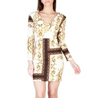 Rinascimento White V-Neck Sleeves Dress