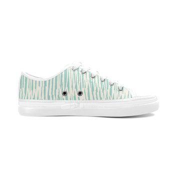 Green Stripes Theme White Base Women's Nonslip Canvas Shoes