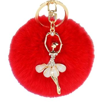 Chic Red Faux Rabbit Fur Pom Pom with Crystal Ballerina Charm Key Fob Keychain Gold Tone