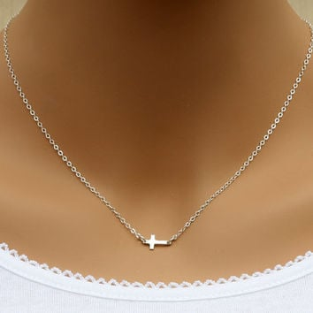 Small Sideways Cross Necklace, Sterling Silver, Tiny,Petite,Centered Cross,Celebrity Inspired,Faith,Religious