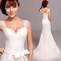 Princess sexy mermaid Wedding Dresses  plus size v-neck lace Wedding Dress belt 963