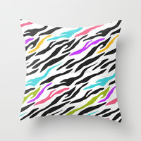 Zebra Print Throw Pillow by PinkBerryPatterns