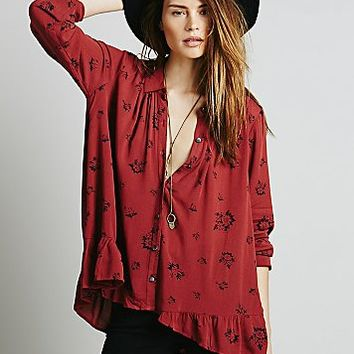 Free People Womens Floral Printed Ruffle Back