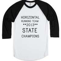 Horizontal Running Team (baseball Tee)-Unisex White/Black T-Shirt
