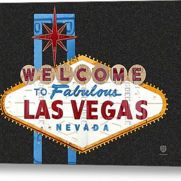 Welcome To Las Vegas Nevada Sign Recycled Vintage License Plate Art Metal Print