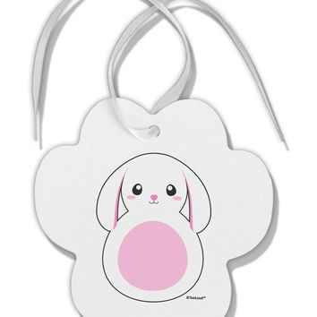 TooLoud Cute Bunny with Floppy Ears - Pink Paw Print Shaped Ornament