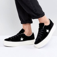 Converse One Star Platform Ox In Black at asos.com