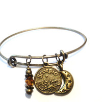 Pick Your Sign Bangle Bracelet Gemini Zodiac Aries Jewellery Scorpio Moon Charm Customize Personalized Leo Cancer Christmas Stocking Stuffer