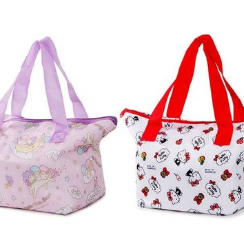 Cute Hello Kitty Little Twin Stars Insulated Lunch Box Tote Bags for Women Girls Kids School Picnic Food Bag Thermal Cooler Bag