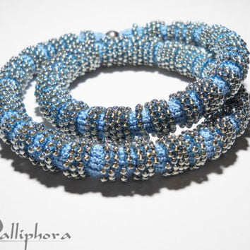 Bead crochet necklace  bracelet- spiral crochet rope with beads