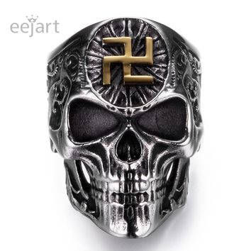 eejart Stainless Steel Buddhist Words Skull Rings Punk Man's High Quality Personality Ring