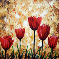 Red Tulips ACEO Giclee Print of an Original Acrylic by artbyjae