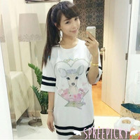J-Fashion Kawaii Little Deer Short Sleeve Long Shirt SP140698