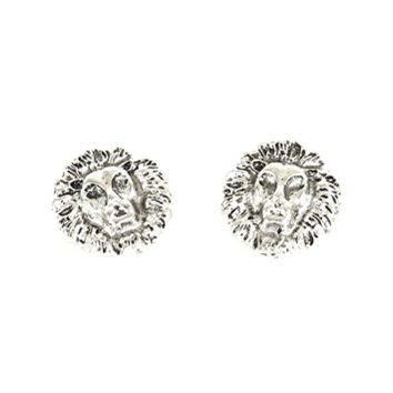 Lion Head Post Earrings Vintage Silver Tone Africa Safari Jungle Studs EF40 Fashion Jewelry