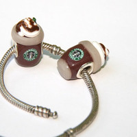Starbucks chocolate smoothie mocha mini food frappuccino cappuccino Costa large hole European bead Fit Pandora Chamilia Troll Biagi bracelet