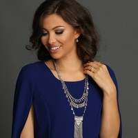 Silver Rhinestone Fringe Necklace Set