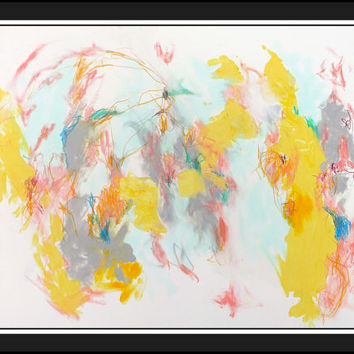 "Intuitive Expressionist Abstract Painting on Paper 24x18 ""Zest for Life"" Mixed Media"
