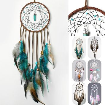 Boho Style Handmade Dream Catcher Traditional Feather Wall Hanging Home Decoration Gifts