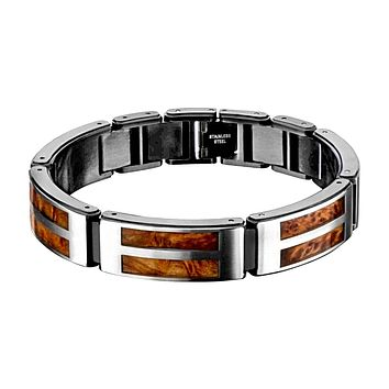 Hollis Bahringer Stainless Steel with Palisander Wood Inlay Bracelet 8""