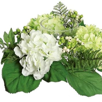 """16"""" Decorative Artificial Cream White and Green Hydrangea and Berry Hurricane Glass Candle Holder"""