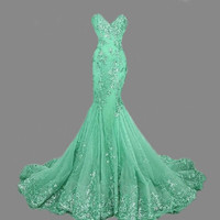 Long Sparkle Fitshtail Lace Sequins Sweetheart Dress Q90