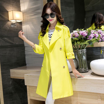 Nice New Spring Coat In The Long Section Of Trench  Double Breasted Coat Casual Trench Coat 151212
