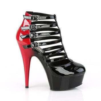 "Delight 695  6"" High Heel Sandal Shoes - Black / Red Patent"