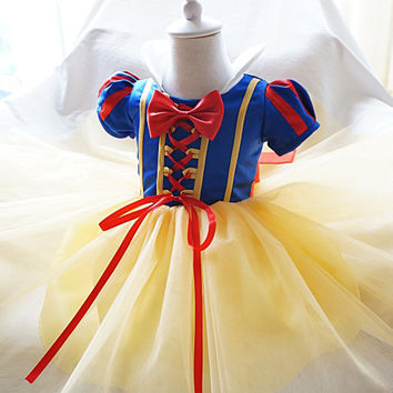 Fancy Princess Snow White Girl Dresses Cosplay Costumes Dress Up Baby Tutu Dress Kids Party Theme Wear 1 2 Year Birthday Dress