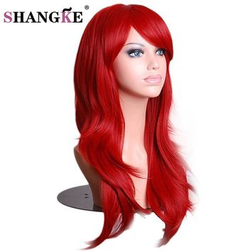 SHANGKE Hair Long Wavy Red Wig Womans Heat Resistant Synthetic Female Cosplay Wigs For  White Women Fake Hair Pieces