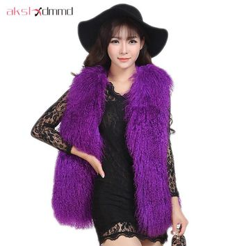 Fur Jacket 2017 New Fur Sheep Wool Overall Leather Autumn and Winter Women V-neck Fur Mid-long Vest Coat Colete De Pele LH578