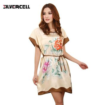 2017 Women's Chinese Style Short Sleeve Silk Dress Loose Nightgown Bathrobe