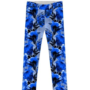 Mystery Lucy Cute Blue Floral Printed Knit Leggings - Girls