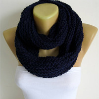 ON SALE - dark blue scarf-Chunky Knit Scarf , crochet infinity scarf, christmas gift- for her -Fashion accessories